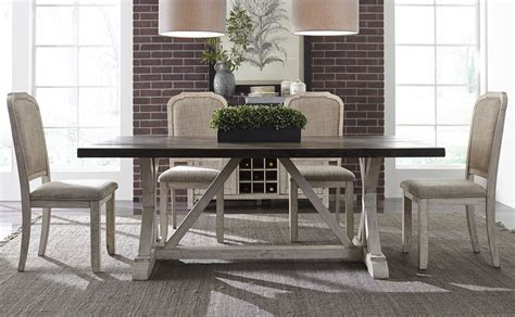 willowrun rustic white trestle dining room set