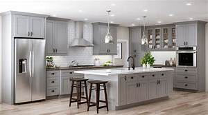 tremont base cabinets in pearl gray kitchen the home depot With best brand of paint for kitchen cabinets with wall art logo