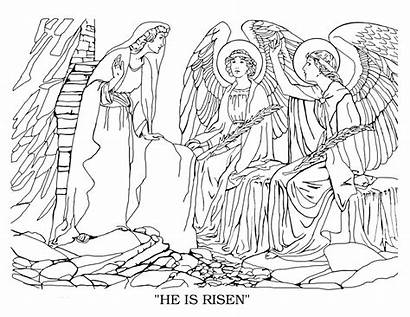 Coloring Bible Pages Mary Risen He Goliath