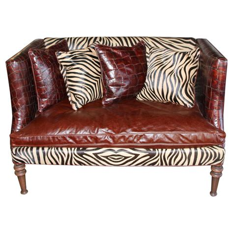 Zebra Settee by Hickory Tannery Croc Grained Zebra Pattern Horsehide