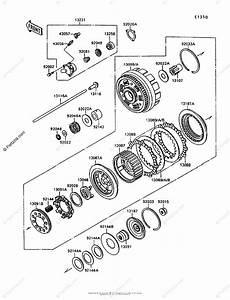 Kawasaki Motorcycle 1998 Oem Parts Diagram For Clutch
