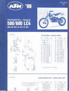 1990 Ktm 500 600 Lc4 Mx Dxc Exc Egs Chassis Spare Parts Poster