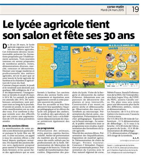 chambre agriculture corse le lycée agricole de sartène fête ses 30 ans communauté