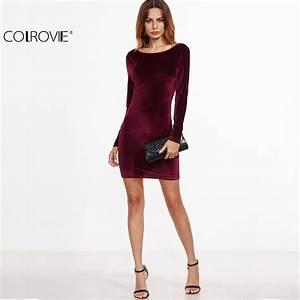 Sexy Club Outfits Style Dress Party Short Long Sleeve Dress Burgundy Open Back Velvet Bodycon Dress