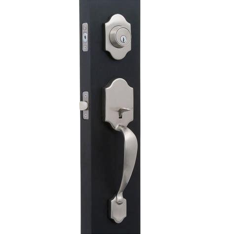 front door handles home depot defiant springfield satin nickel door handleset