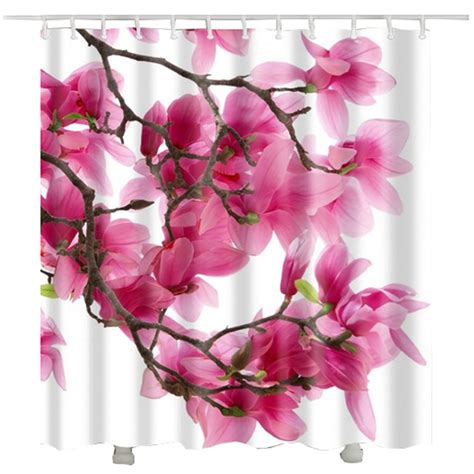 Floral Shower Curtain For Bathroom Waterproof Polyester