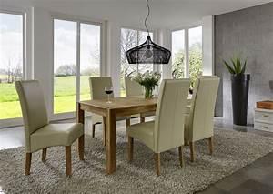 Echtleder Stühle Esszimmer : sam esszimmer tischgruppe 7tlg st hle creme eiche matrix auf lager ~ Orissabook.com Haus und Dekorationen