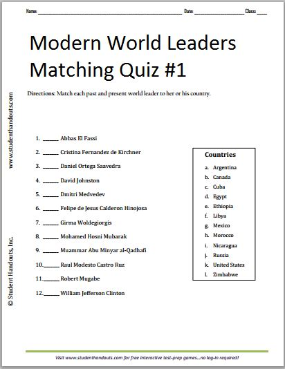modern quiz questions and answers modern world leaders printable matching quiz 1