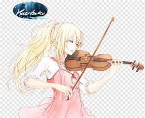brown, hair, anime, girl, playing, violin