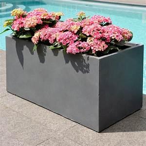 Bac à Fleurs : bac fleurs fibre de terre clayfibre l80 h40 cm anthracite plantes et jardins ~ Teatrodelosmanantiales.com Idées de Décoration