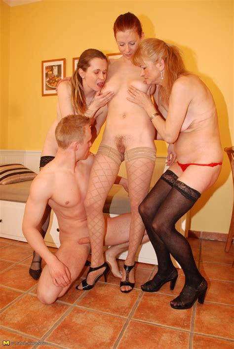 one dude fucking three mature ladies