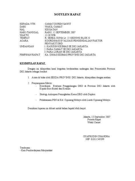 Format Notulen Rapat by Contoh Format Laporan Notulen Rapat Contoh Duri
