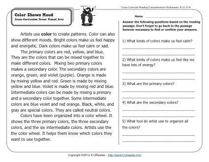 color shows mood 2nd grade reading comprehension worksheets