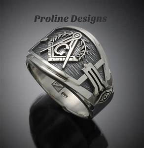 masonic ring for men in sterling silver cigar band style With masonic wedding ring