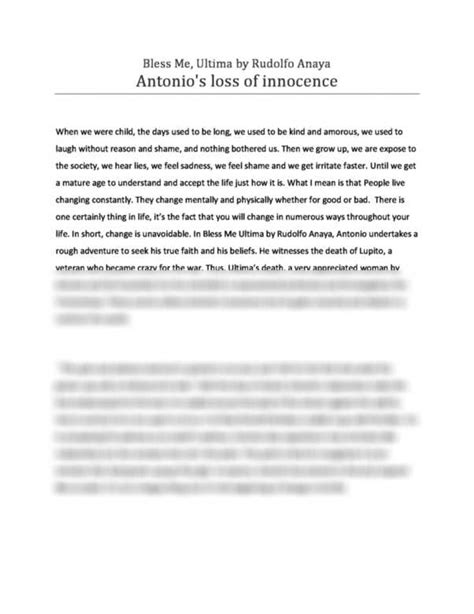 An Essay In Bless Me by Bless Me Ultima Essay