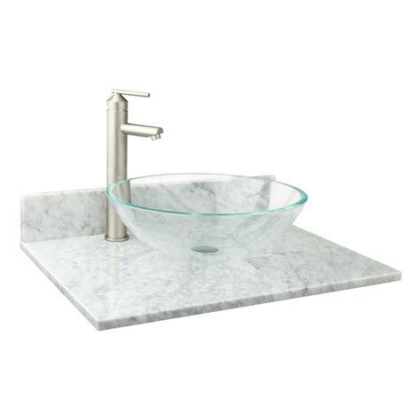 narrow depth marble vessel sink vanity top