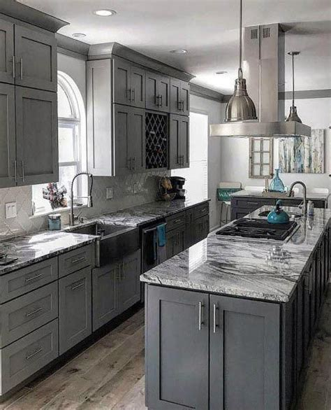 awesome grey kitchen ideas  marble countertops
