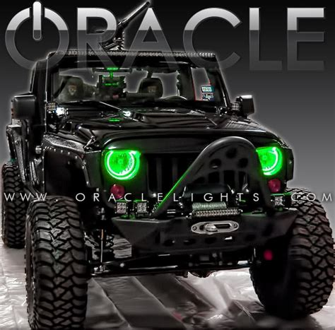 jeep halo lights oracle color changing halo headlight and foglight light