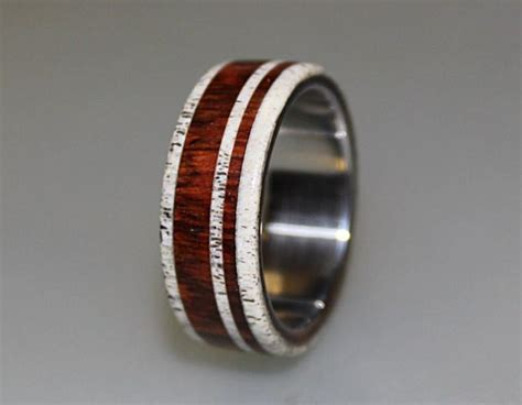 titanium ring with cocobolo and deer antler inlay ring antler ring titanium wedding