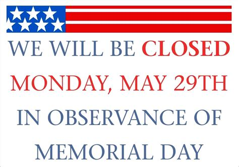 memorial day closed sign template template we are closed sign template