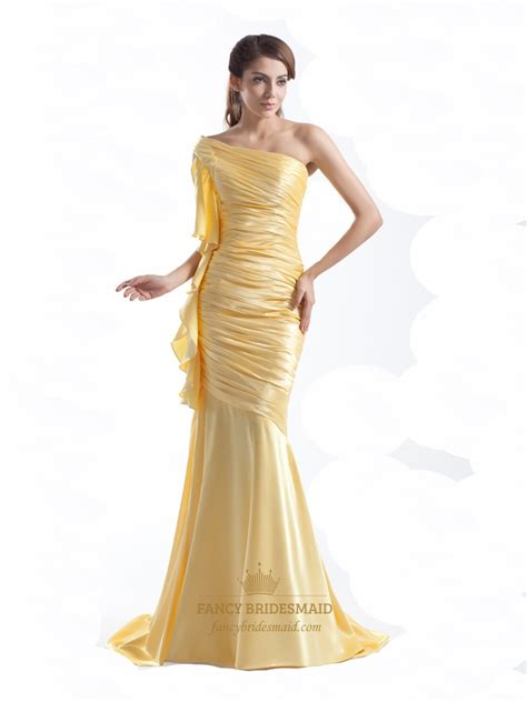 what color prom dress should i get yellow one shoulder floor length mermaid prom dress with