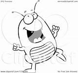 Flea Cartoon Clipart Dancing Happy Coloring Outlined Vector Cory Thoman Regarding Notes sketch template