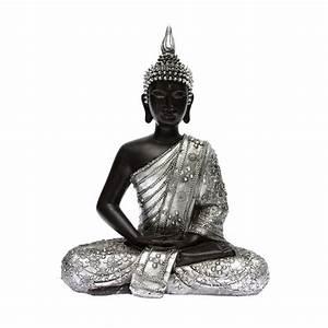 Statue Bouddha Interieur : statue bouddha argent 28cm ~ Teatrodelosmanantiales.com Idées de Décoration