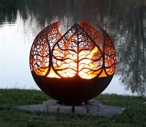 autumn sunset leaf fire pit sphere  fire pit gallery
