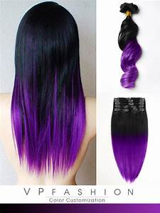Black to Dark Purple Mermaid Colorful Ombre Indian Remy ...