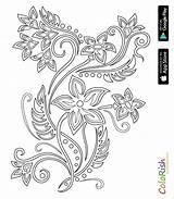Coloring Crochet Flowers Motif Irish Card sketch template