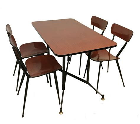 table four chairs in painted metal formica by fly