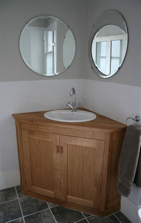 corner bathroom vanity giving unique effect  small