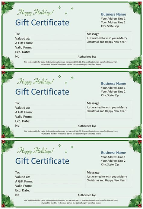 christmas gift certificate  word