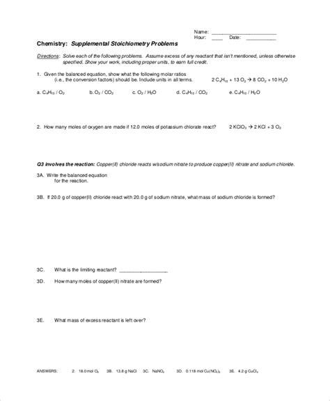 sle stoichiometry worksheet 9 exles in word pdf