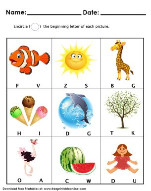 beginning letters worksheet  preschool kids