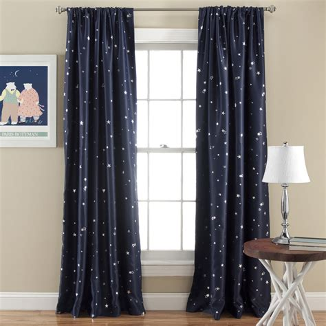 lush decor star blackout window 84 inch curtain panel pair