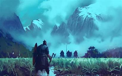 Alone Viking Warrior Fighting Fantasy Background Wallpapers