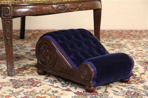 sold gout footstool  antique mahogany velvet