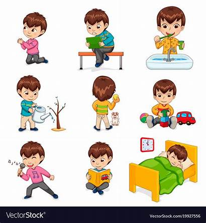 Routine Daily Actions Boy Clipart Schedule Does