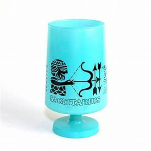 RESERVED Sagittarius Zodiac Turquoise Glass - Giant Goblet