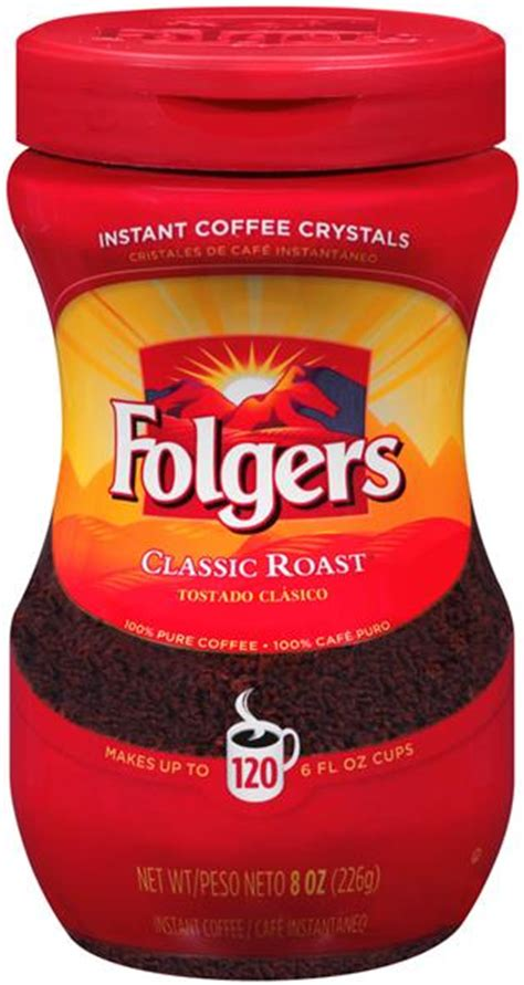 Folgers classic roast coffee is made from mountain grown beans, the richest and most aromatic in the world. Folgers Classic Roast Instant Coffee Crystals | Hy-Vee Aisles Online Grocery Shopping