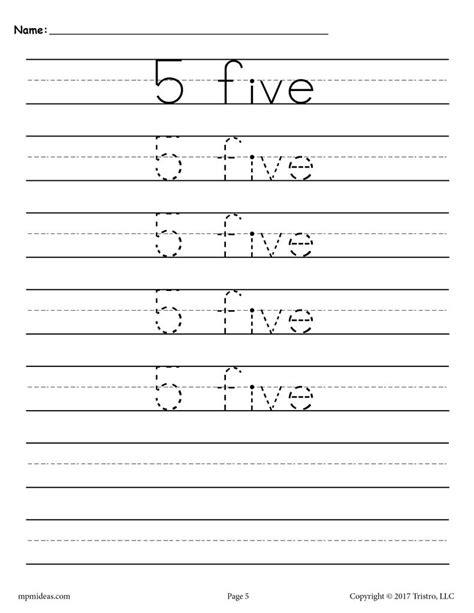 free number 5 tracing worksheet number five handwriting