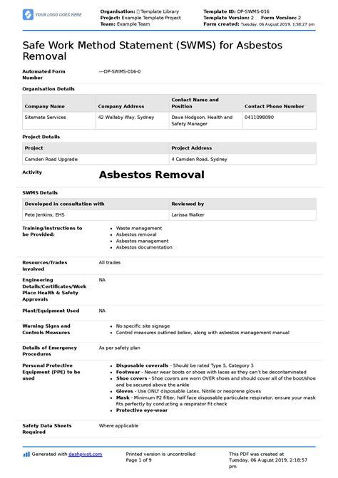 asbestos safe work method statement  asbestos removal