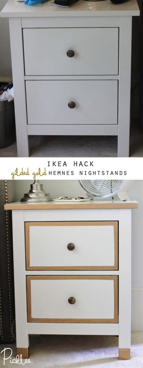 ikea hemnes hack ikea hack gilded gold hemnes nightstands diy picklee