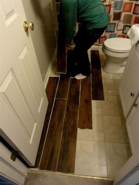 peel  stick wood laminate perfect  guest bath