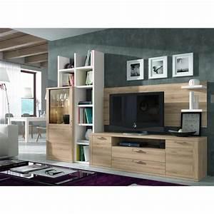 Ensemble bibliotheque et meuble tv kaiss chene clair for Ensemble meuble tv et bibliotheque
