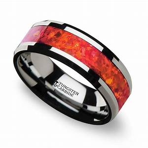 Red Opal Inlay Men39s Wedding Ring In Tungsten 8mm