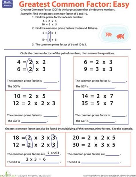 Factors, Greatest Common Factors And Worksheets On Pinterest