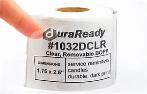 1032dclr 175 x 25quot clear removable bopp plastic label With clear candle labels