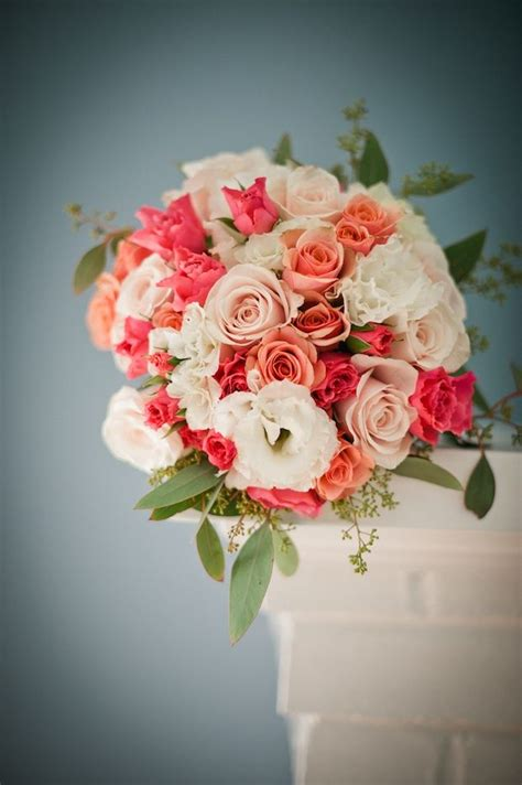 Beautiful Blooms White Blush Peach And Coral Bouquet
